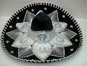 """Authentic Mexican Mariachi-Sombrero Charro Adult 23"""" Blk/Sil 3ps Wholesale Pack"""