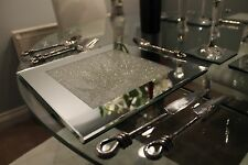 New Set of Four Mirrored Placemats With Swarovski Crystals Dining Table SECONDS