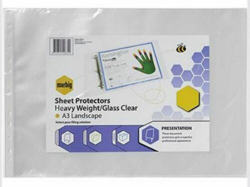 MARBIG Sheet Protectors HEAVY DUTY Deluxe A3 CLEAR Landscape Box of 100 Pages