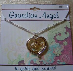 Details about July Guardian Angel necklace,ruby crystal birthstone,2 tone  plated,card,USA