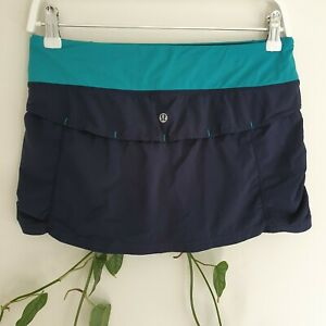 Lululemon-Navy-amp-Teal-Blue-Activewear-Skort-Skirt-6-AU10-S-Recycled-Polyester