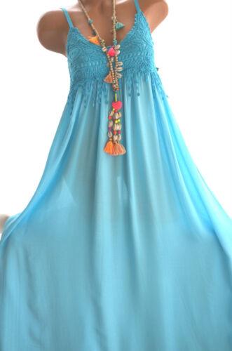 Damen Kleid BOHO Ibiza Sommerkleid Maxikleid Häkelkleid 36//38 Neu Italy