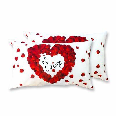 Coppia Federe Per Guanciale Je T'aime Amour I Love Sleeping Stampa Digitale 3... Ineguale Nelle Prestazioni