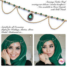 Hijab Pin Wedding Bridal Tikka Hair jewellery Head piece Party green gold patti