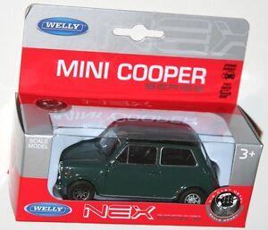 Welly-MINI-COOPER-1300-vert-noir-toit-modele-echelle-1-34-1-39