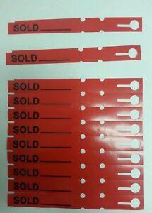 100 red sold tags tree labels wrap around plastic vinyl loop