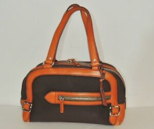 31fdde45a9ce Image is loading PRADA-Brown-Canvas-Orange-Leather-Purse
