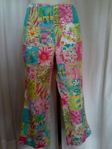 Size-6-New-60-00-CATHERINE-STEWART-Tropical-Pink-Green-Blue-Capri-Cropped