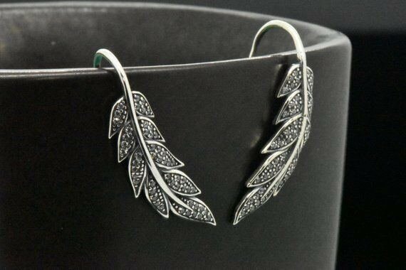 0.25 Ct Diamond Wings French Wire Drop Dangle Earring 14k White gold FN Jewelry