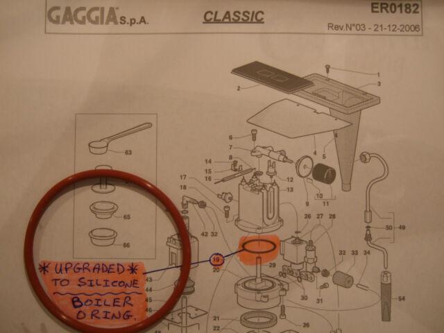 Gaggia Classic Baby Tebe Evo Paro Silicone Boiler Gasket Seal O Ring DM0041/082