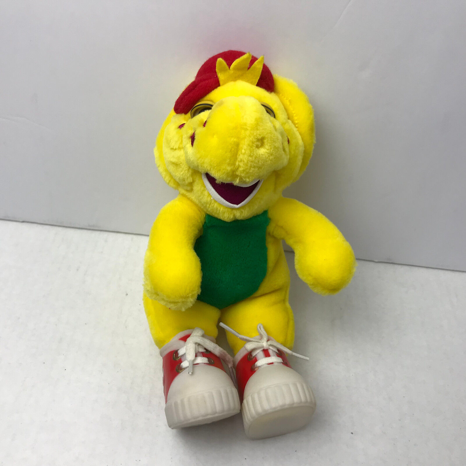 BJ the Dinosaur Yellow Plush 9.5  Toy Vinyl Red shoes Friend of Barney 1994 Tag