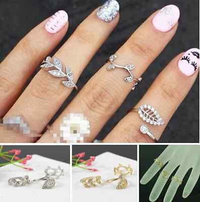 3PCS Alloy Rhineston Gold/Silver Leaf Above Knuckle Midi Mid Finger Leaves Rings