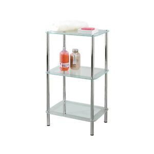 info for 84c56 6c407 Details about 3 Tier Free Standing Glass Shelves Storage Rectangular Home  Bathroom