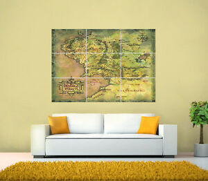 Lord-Of-The-Rings-Middle-Earth-Map-GIANT-Poster-various-sizes-up-to-49-6x35