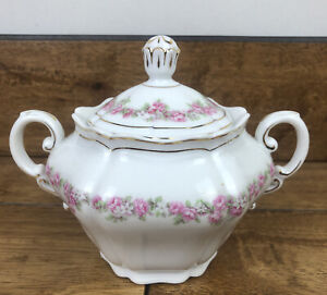 Vintage Vienna Austria lidded Sugar Bowl with Handles Pink Garland
