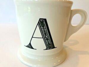 Anthropologie Letter A Initial Coffee Mug White Black Retro Shaving Cup Monogram
