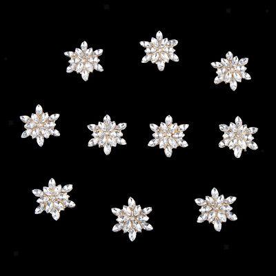 10 Crystal Rhinestone Buttons Flatback Embellishments Wedding Craft 12mm