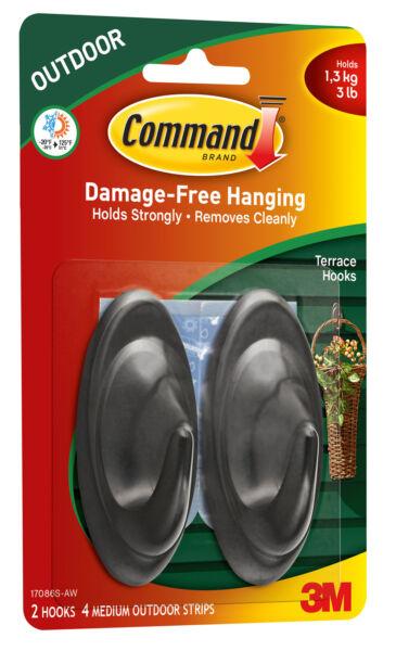 Command Outdoor 3 lb Capacity Medium Terrace Hooks Black