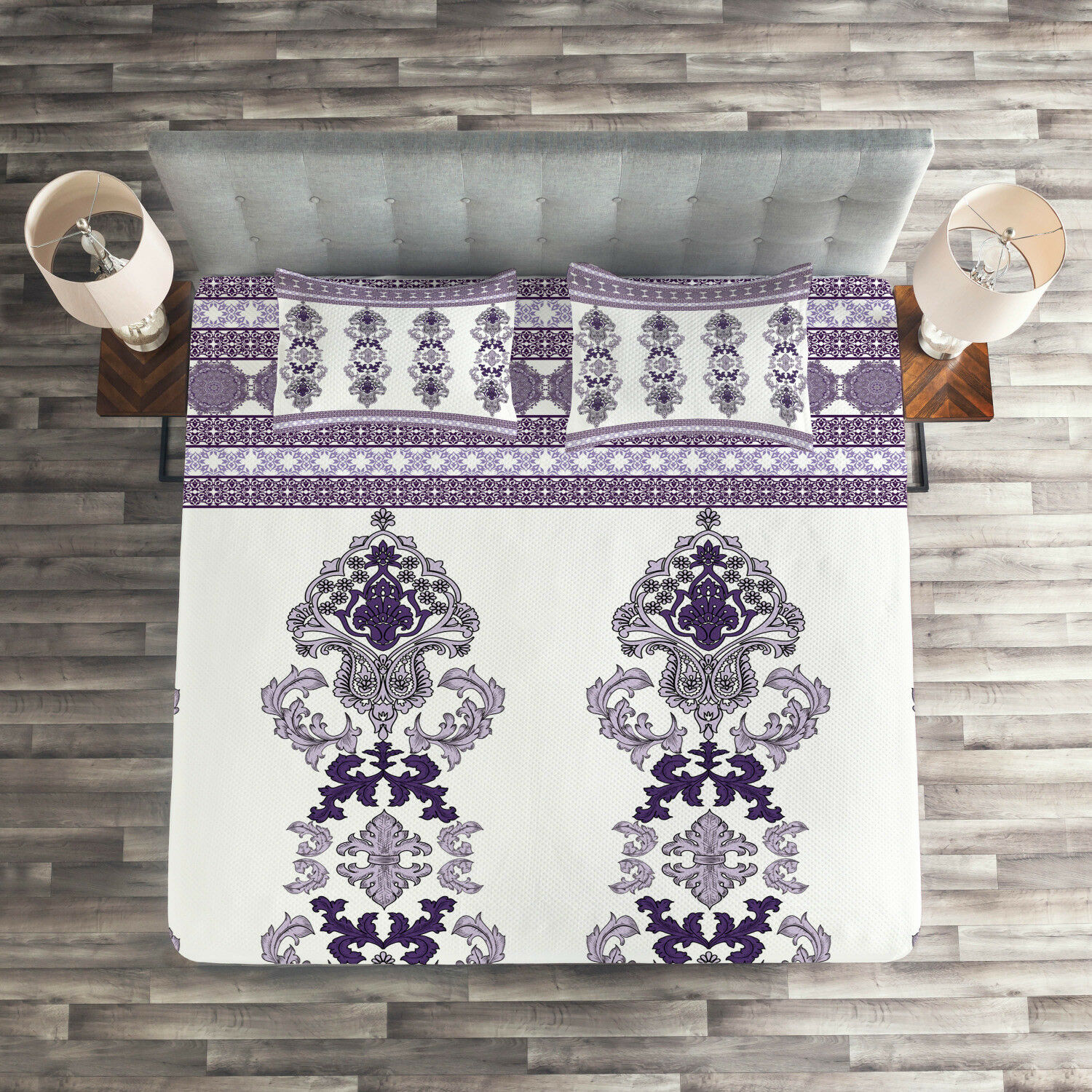 Damask Quilted Coverlet & Pillow Shams Set, Middle Eastern Motifs Print