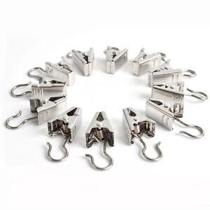 20-piezas-Paquete-Metal-Resistente-ganchos-de-cortina-con-Plateado-Home