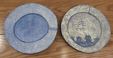 "2 hand made signed artisan artist blue wooden plates repairs/seams 13"" diameter"