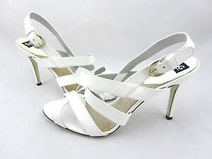 675-DOLCE-amp-GABBANA-White-Patent-Leather-Strappy-Ankle-Sandals-Heels-10-41-New