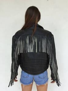 Vintage-VTG-1970s-70s-Easyriders-Black-Leather-Fringe-Moto-Motorcycle-Jacket