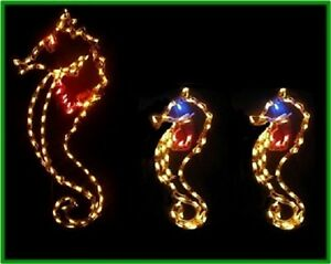Christmas-Summer-Sea-Horse-Family-Yard-LED-Lighted-Decoration-Steel-Wireframe
