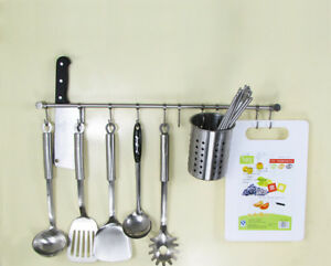 Stainless Steel Brushed Hanging Rail For Kitchen Utensils Wall Mounted Rack Hook Ebay