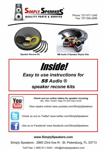 """Recone Kit for JBL 124-67001-01x 124-67001-00x 15/"""" Woofer SS Audio Parts"""