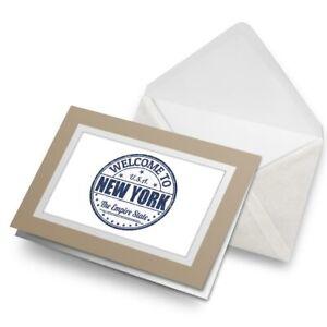 Greetings-Card-Biege-Welcome-New-York-USA-America-Travel-5221