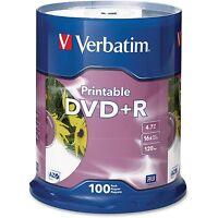 Verbatim Dvd+r 16x 4.7gb Inkjet Printable Spindle 100/pk White 95145 on sale
