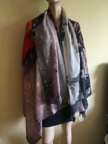 Italca of Italy Tram Print Soft Viscose Pashmina Large Scarf Shawl Made in Italy