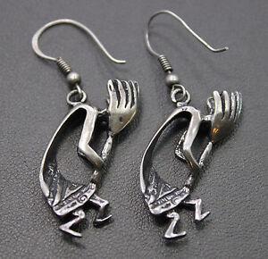 Sterling Silver 3d Kokopelli Dangle Earrings Ebay