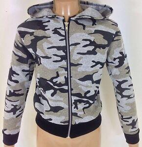 7d34e967ef9c9 NEW Girls Kids Grey Black Camo Camouflage Army Jacket Coat Age 2 3 4 ...