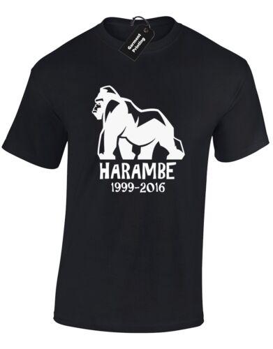 HARAMBE SILHOUETTE MENS T SHIRT GORILLA MONKEY APE SHOOT JUSTICE PEACE NEW