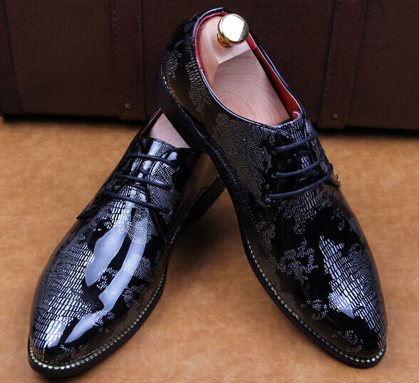 Mens Brogue Wedding Party Lace Up Pointed Toe Patent Leather Dress Formal shoes