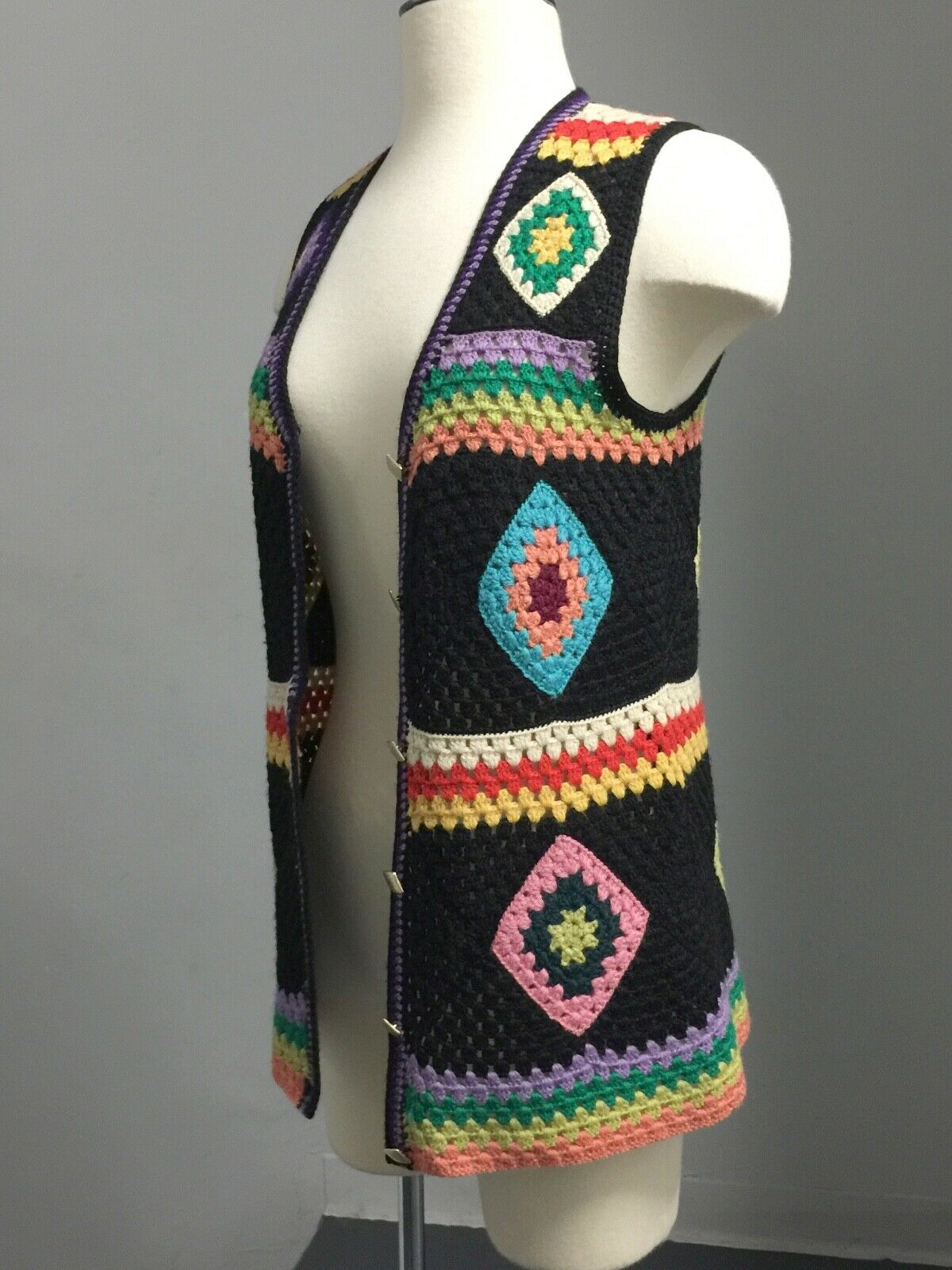 Vintage 70s Wool Handknit Crochet Black Multicolo… - image 2