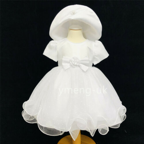 *SALE* Gorgeous Baby Girl White Occasion Tutu Dress with Matching Bonnet Hat