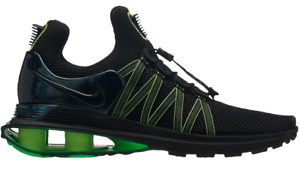 buy popular 17961 46ee9 Image is loading Nike-Shox-Gravity-Black-Hot-Lime-Men-039-