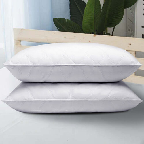 Set of 2 Puredown® Quilted Feather and Down Pillow with 100/% Cotton Cover