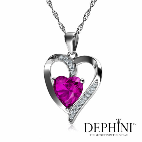 Pink Heart Necklace by DEPHINI CZ Crystals Gift 925 Sterling Silver Pendant