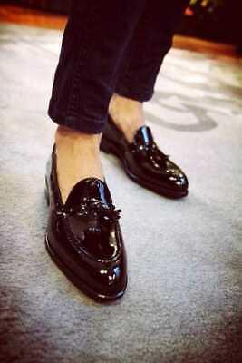 Zapatos para hombre hecho a mano Negro Patente Mocasines Sin Cordones Mocasín borlas Esmoquin Brillante | eBay