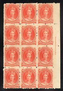 Canada Nova Scotia #12 10c Queen Victoria Block of 12 w/Inscription MNH