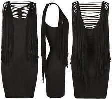 ALL SAINTS 'Liya' black fringed tassel jersey mini dress UK 10 US 6