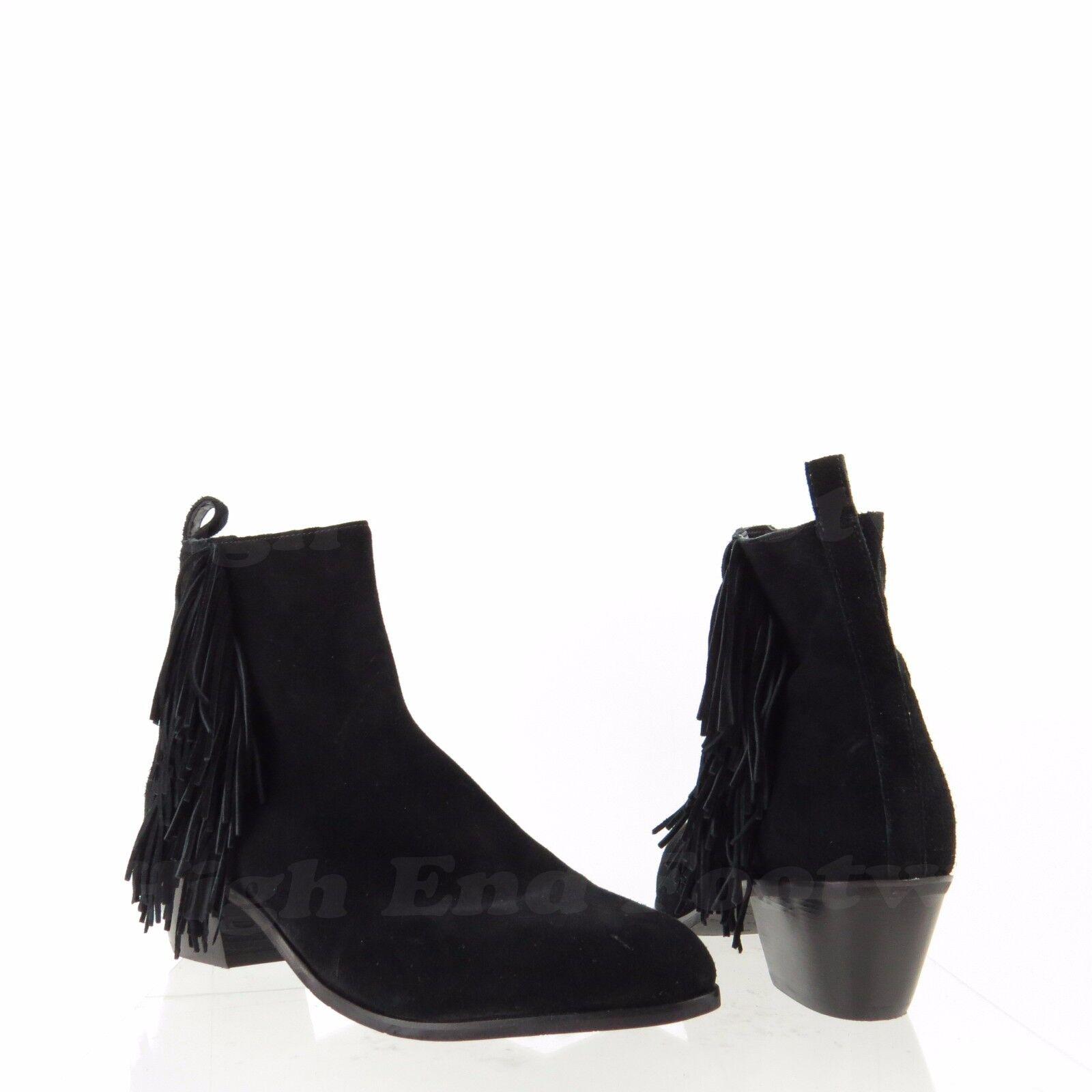Via Spiga Carey Women's shoes Black Suede Fringe Dress Booties Sz 8 M NEW  325