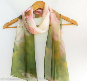 Women-039-s-Fashion-Georgette-Long-Wrap-Shawl-lotus-flowers-Beach-Scarf