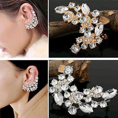 Womens Fashion Punk Gothic Crystal Rhinestone Ear Cuff Wrap Stud Clip Earrings
