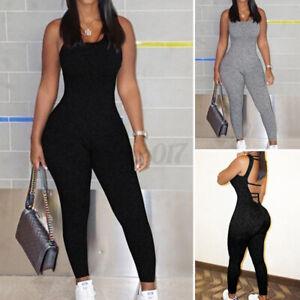 Sexy Femme Combinaison Pantalon Long Coupe Slim Dos Du Sans Manche Simple Plus