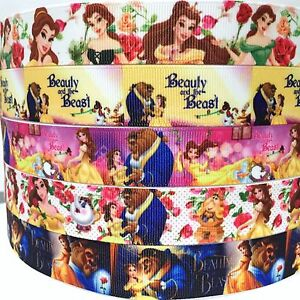 Grosgrain-Ribbon-7-8-034-amp-1-034-5-Yard-mixed-lot-Beauty-amp-The-Beast-Princess-Printed